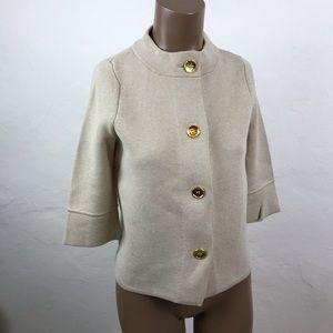 J. McLAUGHLIN Tan BEIGE Fine KNIT Sweater CARDIGAN